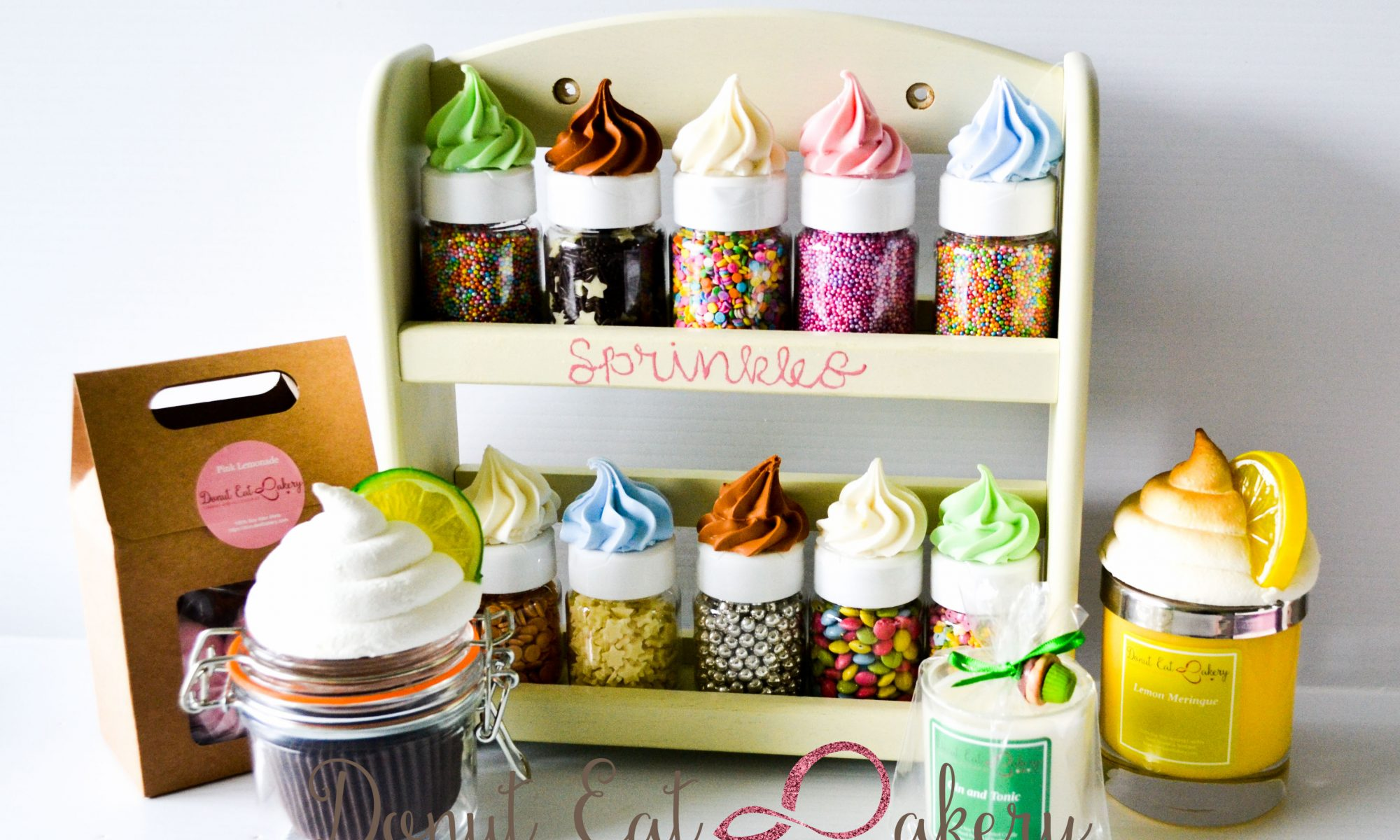 Sprinkle Rack and Jars Cupcake Candles